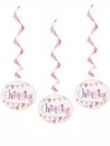 Pink Christening Hanging Swirl Decorations 3pk