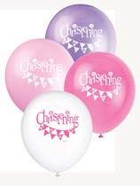 "Pink Christening 12"" Latex Balloons 8pk"