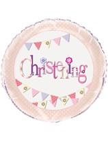 "Pink Christening Bunting 18"" Foil Balloon"