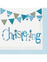 Blue Christening Luncheon Napkins 16pk