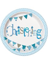 "Blue Christening 9"" Paper Plates 8pk"