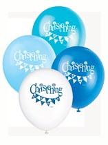 "Blue Christening 12"" Latex Balloons 8pk"