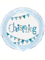 "Blue Christening Bunting 18"" Foil Balloon"