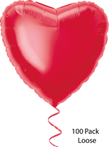 """Unique Party Red 18"""" Foil Hearts With Ribbon Loose 100pk"""