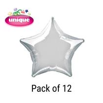 "Silver 20"" Star Shaped Foil Balloons 12pk"