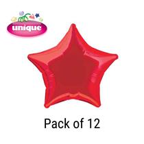 "Red 20"" Star Shaped Foil Balloons 12pk"