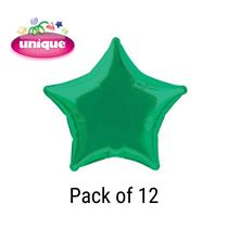 "Green 20"" Star Shaped Foil Balloons 12pk"