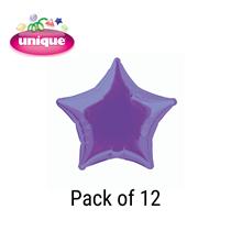 "Deep Purple 20"" Star Shaped Foil Balloons 12pk"