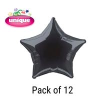 "Black 20"" Star Shaped Foil Balloons 12pk"