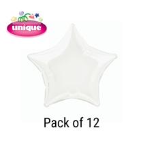 """White 20"""" Star Shaped Foil Balloons 12pk"""