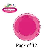 """Hot Pink 18"""" Round Foil Balloons 12pk"""