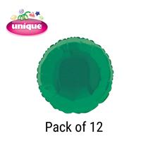 "Green 18"" Round Foil Balloons 12pk"