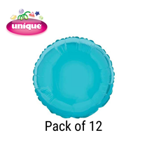 """Baby Blue 18"""" Round Foil Balloons 12pk"""