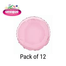"""Pastel Pink 18"""" Round Foil Balloons 12pk"""