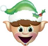 "Christmas Elf Head 35"" Foil Balloon"
