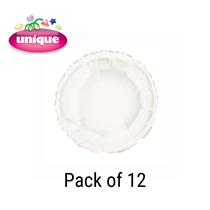 "White 18"" Round Shaped Foil Balloons 12pk"