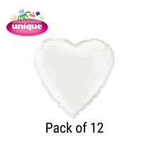 """White 18"""" Love Heart Foil Balloons Bulk 12pk"""