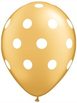"""Gold with White Dots 11"""" Latex Balloons 25pk"""