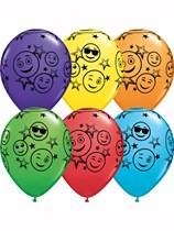 "Smiley Stars 11"" Rainbow Assorted Latex Balloons 25pk"