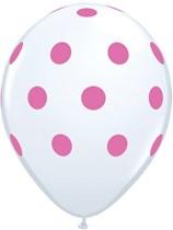 "White & Pink Dots 11"" Latex Balloons 25pk"
