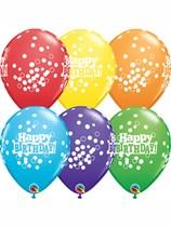 """Happy Birthday Confetti Dots 11"""" Latex Balloons 6pk"""