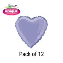 """Lavender 18"""" Love Heart Foil Balloons Bulk 12pk"""