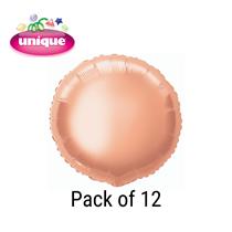 "Rose Gold 18"" Round Foil Balloons 12pk"