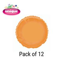 """Orange 18"""" Round Foil Balloons 12pk"""