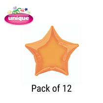 """Orange 20"""" Star Shaped Foil Balloons 12pk"""