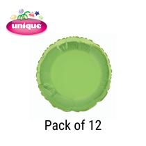 "Lime Green 18"" Round Foil Balloons 12pk"