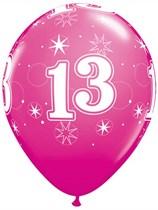 "Age 13 Sparkle Wild Berry 11"" Latex Balloons 6pk"