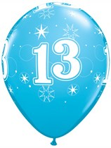 "Age 13 Sparkle Robin's Egg Blue 11"" Latex Balloons 6pk"