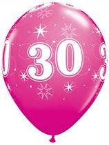 "Age 30 Sparkle Wild Berry 11"" Latex Balloons 6pk"