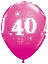 "Age 40 Sparkle Wild Berry 11"" Latex Balloons 6pk"