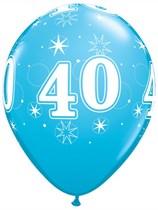 "Age 40 Sparkle Robin's Egg Blue 11"" Latex Balloons 6pk"