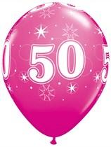 "Age 50 Sparkle Wild Berry 11"" Latex Balloons 6pk"