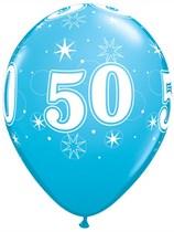 "Age 50 Sparkle Robin's Egg Blue 11"" Latex Balloons 6pk"