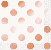 Rose Gold Foil Dots Beverage Napkins 16pk