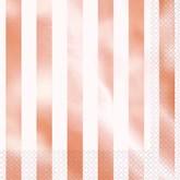 Rose Gold Foil Stripes Lunch Napkins 16pk