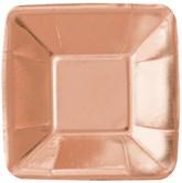 "Rose Gold Foil 5"" Square Appetizer Plates 8pk"