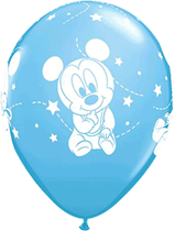 """Mickey Mouse Baby Stars Pale Blue 12"""" Latex Balloons 6pk"""