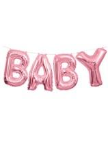 "Pink Baby Foil Balloon Letter Banner 14"""
