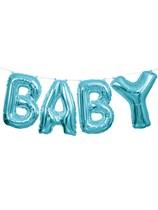 """Blue Baby Foil Balloon Letter Banner 14"""""""