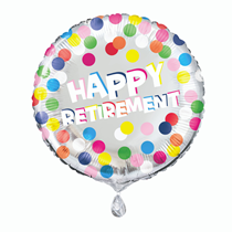 "Happy Retirement Colourful Dots 18"" Foil Balloon"