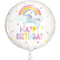 """Rainbow & Unicorn Birthday 18"""" Foil Balloon"""