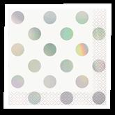 Iridescent Foil Dots Beverage Napkins 16pk
