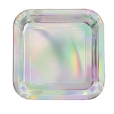 "Iridescent Foil 7"" Square Plates 8pk"