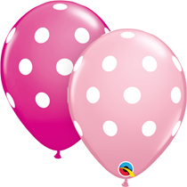 "Pink & Wild Berry Polka Dot 11"" Latex Balloons 25pk"
