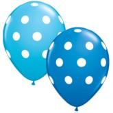 "Assorted Blue Polka Dot 11"" Latex Balloons 25pk"