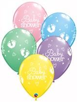 "Pastel Baby Shower Footprints 11"" Latex Balloons 25pk"